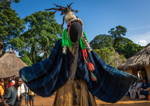 The tall mask dance called Kwuya Gblen-Gbe in the Dan tribe during a ceremony, Bafing, Gboni, Ivory Coast