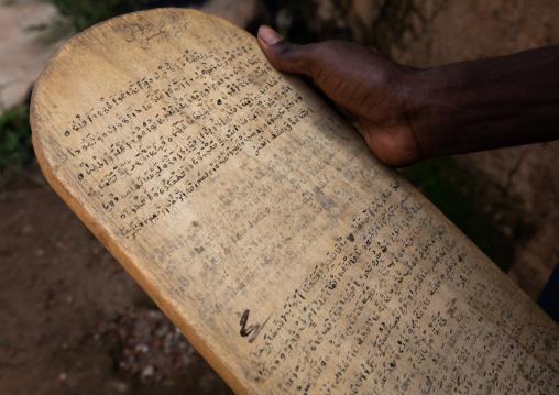 Wood board for writing koran in a koranic school, Tonkpi Region, Man, Ivory Coast