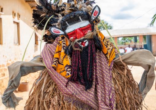 We Guere sacred mask dance during a ceremony, Guémon, Bangolo, Ivory Coast