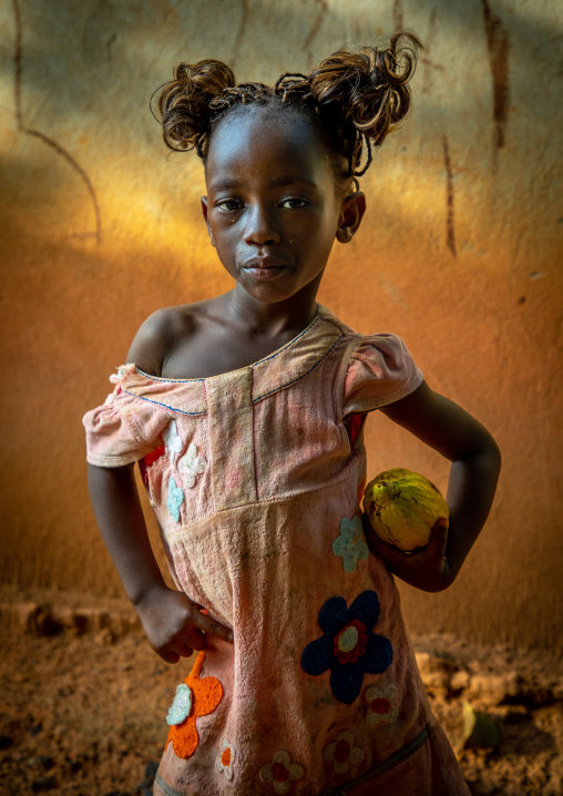 Cute african girl with a cocoa fruit pod in her hands, Savanes district, Yamoussoukro, Ivory Coast