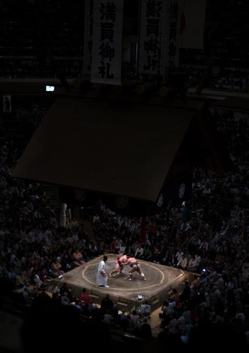 Overview image of the interior of the ryogoku kokugikan sumo arena during the sumo tournament, Kanto region, Tokyo, Japan