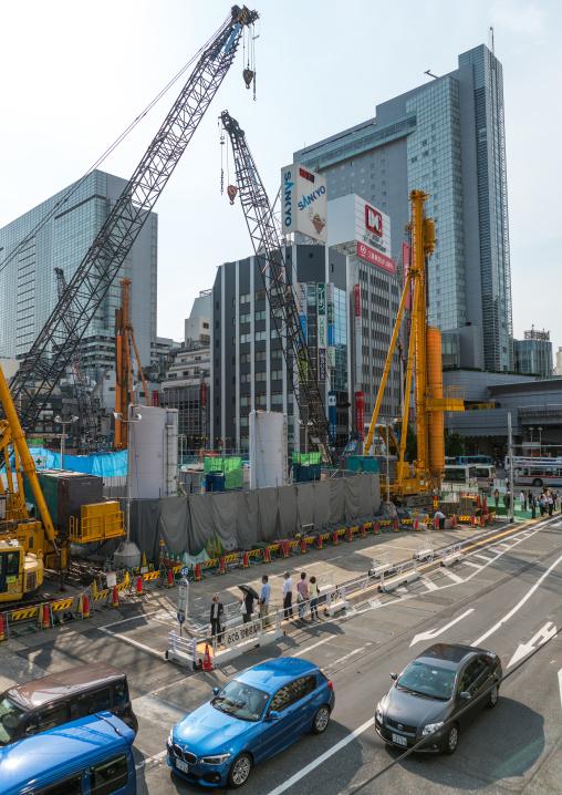 Construction site in shibuya, Kanto region, Tokyo, Japan