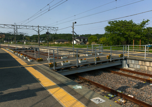 Tatsuta train station in the highly contaminated area after the daiichi nuclear power plant irradiation, Fukushima prefecture, Naraha, Japan