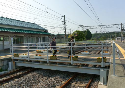 Tatsuta train station in the highly contaminated area after the daiichi nuclear power plant irradiation, Fukushima prefecture, Naraha, Japan