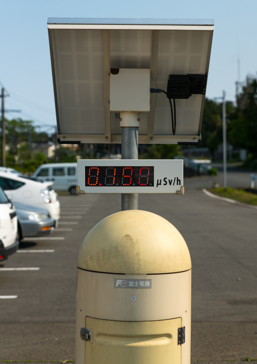 A radiation dosimeter placed in a highly contaminated area after the daiichi nuclear power plant irradiation, Fukushima prefecture, Naraha, Japan