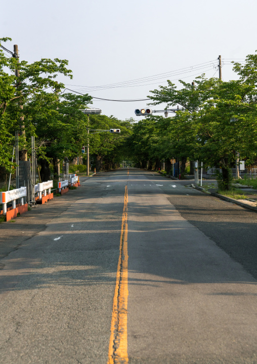 Roadblock in the difficult-to-return zoneafter the daiichi nuclear power plant irradiation, Fukushima prefecture, Tomioka, Japan