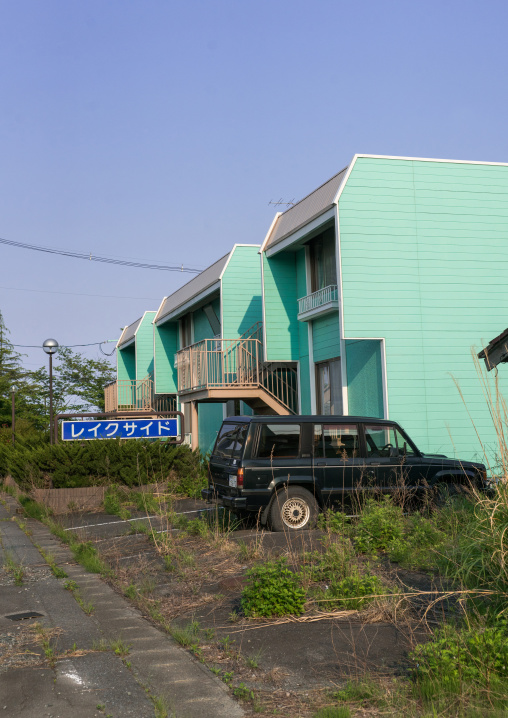 Lake side hotel in the difficult-to-return zone after the daiichi nuclear power plant irradiation, Fukushima prefecture, Tomioka, Japan