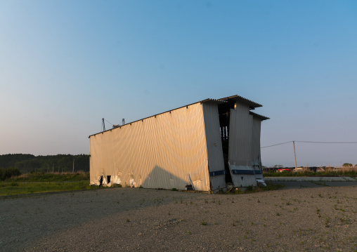 A warehouse destroyed by the 2011 earthquake and tsunami five years after, Fukushima prefecture, Tomioka, Japan