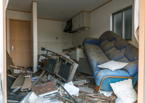 Inside a house destroyed by the 2011 earthquake and tsunami five years after, Fukushima prefecture, Tomioka, Japan
