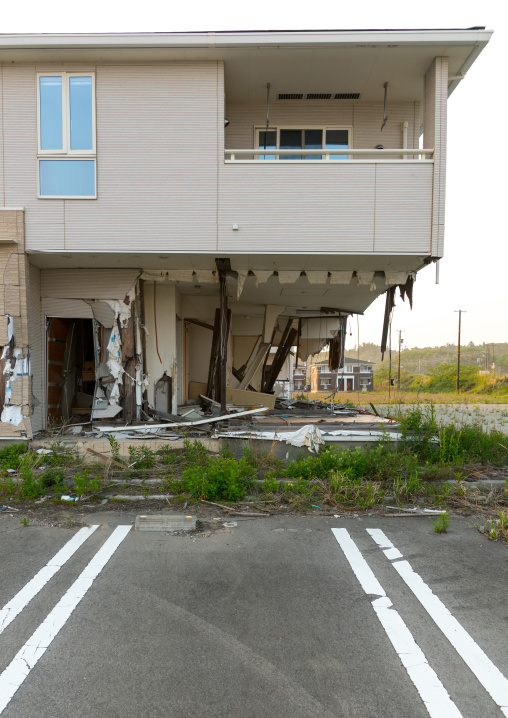 A house destroyed by the 2011 earthquake and tsunami five years after, Fukushima prefecture, Tomioka, Japan