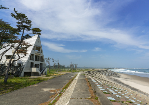 Abandoned marine house in the highly contaminated area after the daiichi nuclear power plant irradiation and the tsunami, Fukushima prefecture, Futaba, Japan