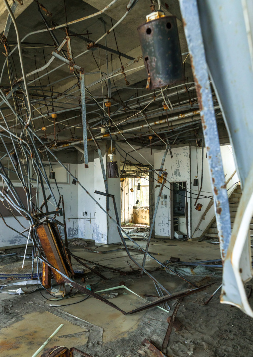 Devastated marine house in the highly contaminated area after the daiichi nuclear power plant irradiation and the tsunami, Fukushima prefecture, Futaba, Japan