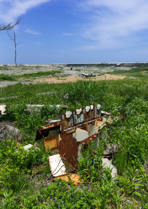 Abandoned cloakroom boxes in the highly contaminated area after the tsunami and the daiichi nuclear power plant irradiation, Fukushima prefecture, Futaba, Japan