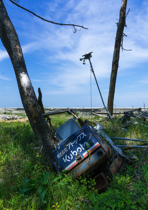 Highly contaminated area after the daiichi nuclear power plant irradiation, Fukushima prefecture, Futaba, Japan