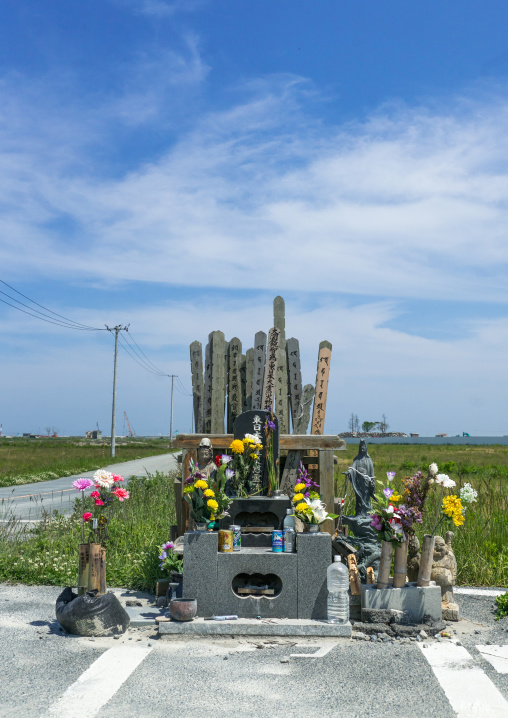 A shrine to victims of the 2011 tsunami, Fukushima prefecture, Namie, Japan