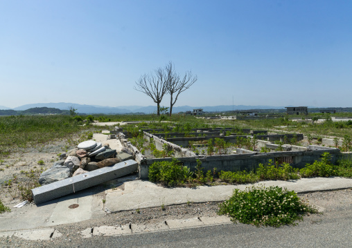 Foundations of the houses destroyed by the earthquake and the tsunami of 2011 five years after, Fukushima prefecture, Namie, Japan