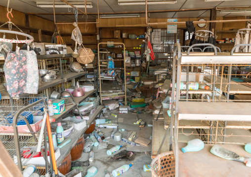 A shop in the highly contaminated area destroyed by the 2011 earthquake five years after, Fukushima prefecture, Tomioka, Japan