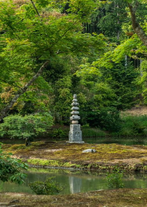 Lantern at the temple of the golden pavilion, Kansai region, Kyoto, Japan