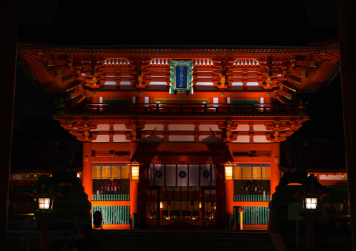 Fushimi inari taisha temple by night, Kansai region, Kyoto, Japan