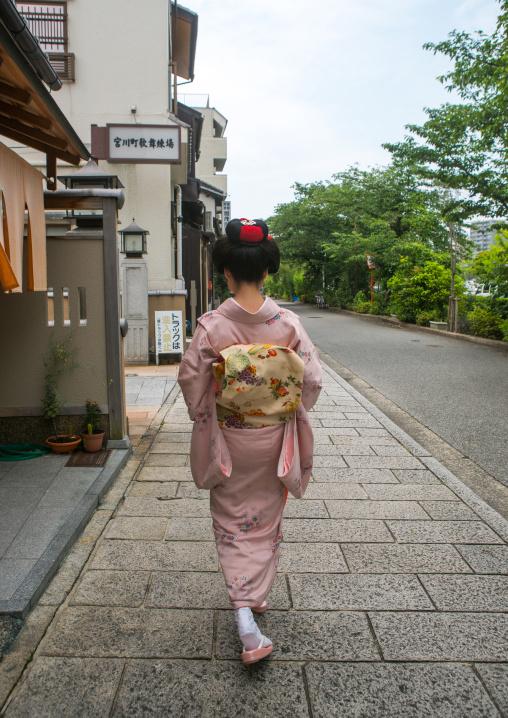 16 Years old maiko called chikasaya walking in the streets of gion, Kansai region, Kyoto, Japan
