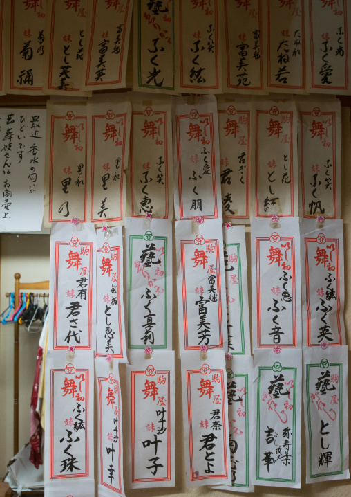 Papers with the names of the maikos and geishas living in the house, Kansai region, Kyoto, Japan