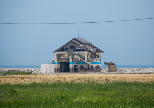 A house destroyed by the 2011 earthquake and tsunami five years after, Fukushima prefecture, Namie, Japan