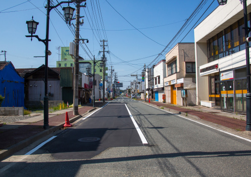 Street in the highly contaminated area after the daiichi nuclear power plant irradiation, Fukushima prefecture, Tomioka, Japan