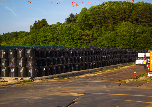 Bags of radioactive waste during radioactive decontamination process after the daiichi nuclear power plant irradiation, Fukushima prefecture, Iitate, Japan