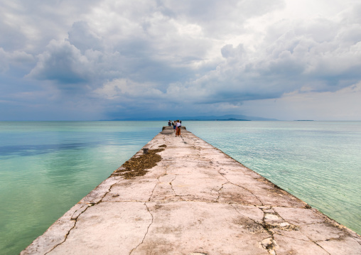 Nishi pier against storm clouds, Yaeyama Islands, Taketomi island, Japan