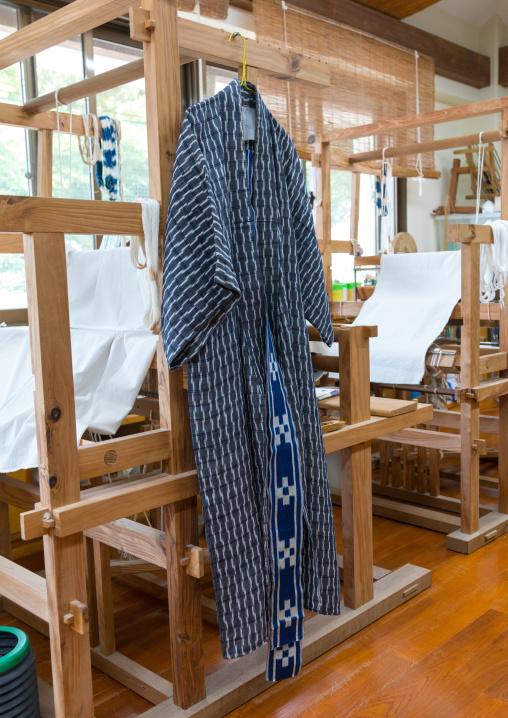 Kimono hung in a weaving workshop, Yaeyama Islands, Taketomi island, Japan