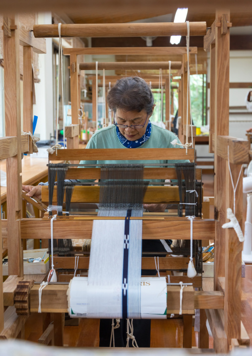 Weaving workshop, Yaeyama Islands, Taketomi island, Japan