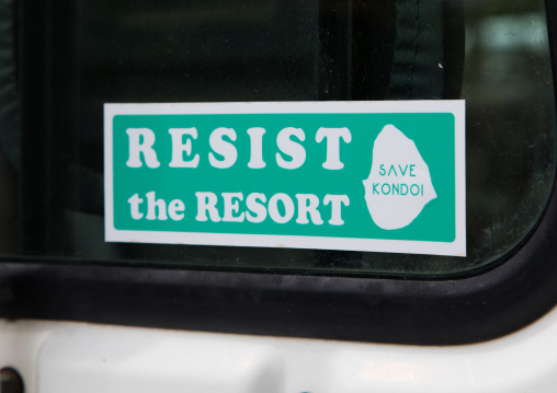 Sticker on a car to protect the environment, Yaeyama Islands, Taketomi island, Japan