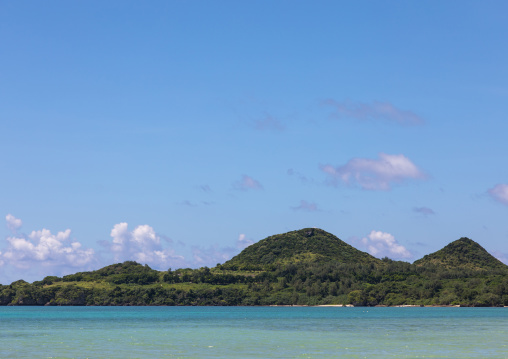 Tropical lagoon with clear blue water in Kabira bay, Yaeyama Islands, Ishigaki, Japan