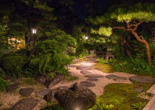 Illuminated japanese garden, Okayama Prefecture, Kurashiki, Japan