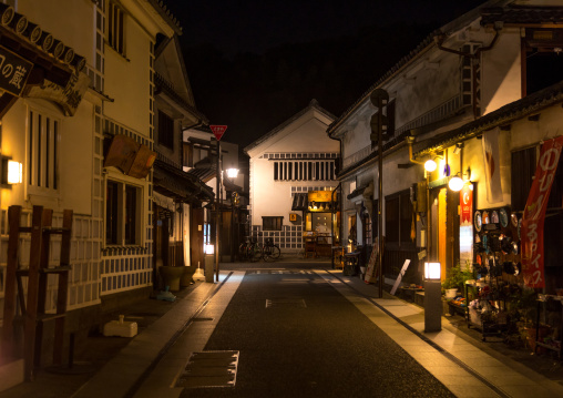 Old houses by night in Bikan historical quarter, Okayama Prefecture, Kurashiki, Japan