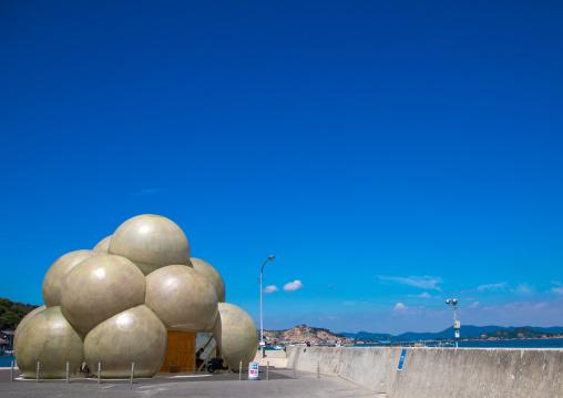 Passenger terminal shaped like a cloud in the port, Seto Inland Sea, Naoshima, Japan