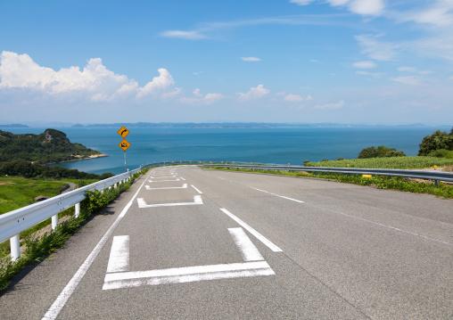 Road over the sea to Teshima art museum, Kagawa prefectiure, Teshima, Japan