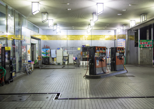 Petrol station at night, Kansai region, Osaka, Japan