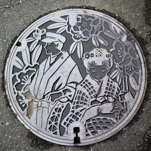 Manhole cover in the street, Izu peninsula, Izu, Japan