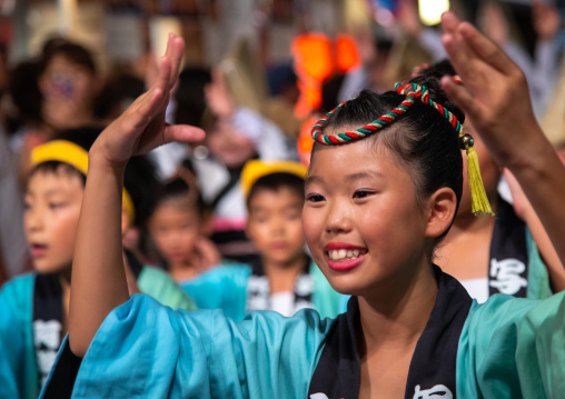Japanese children during the Koenji Awaodori dance summer street festival, Kanto region, Tokyo, Japan