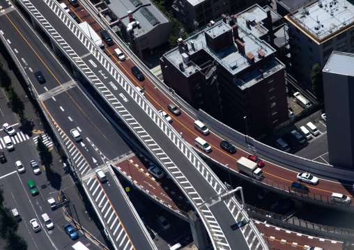 Aerial view of intersection and roads, Kanto region, Tokyo, Japan