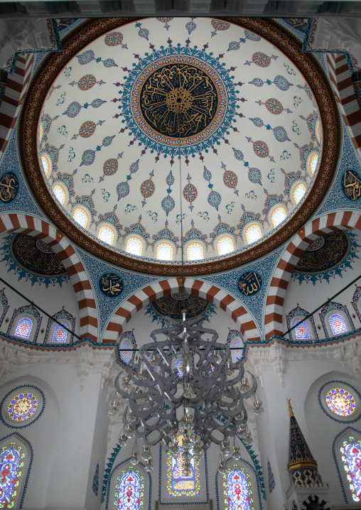 Chandelier hangs from the ceiling in Oyama-cho Tokyo Camii mosque, Kanto region, Tokyo, Japan