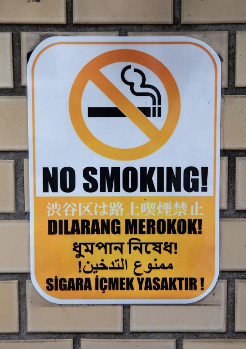 No smoking billboard in oyama-cho Tokyo Camii mosque, Kanto region, Tokyo, Japan