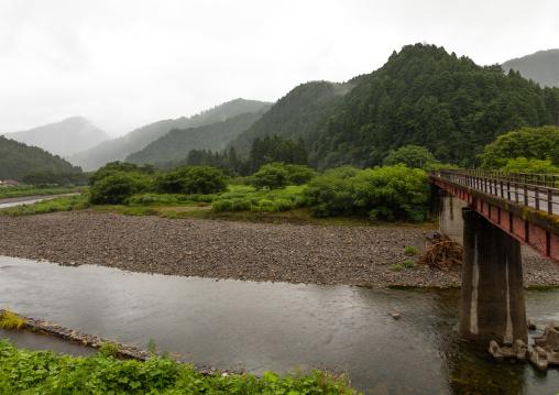 Bridge over a river, Kyoto Prefecture, Miyama, Japan