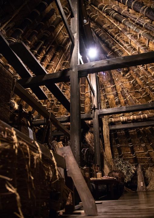 Wood ceiling beams in an old house, Kyoto Prefecture, Miyama, Japan