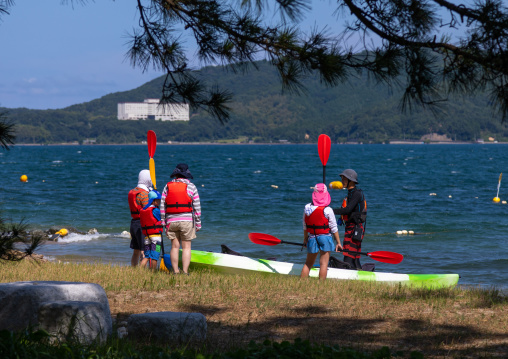 Canoes on beach in Amanohashidate, Kyoto Prefecture, Miyazu, Japan