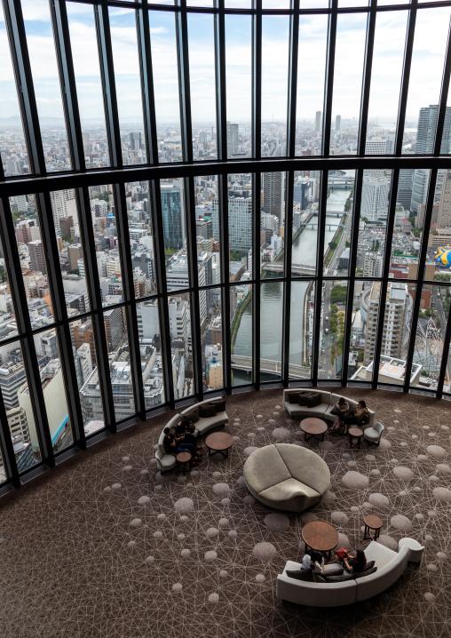 Cityscape seen from the Conrad hotel, Kansai region, Osaka, Japan