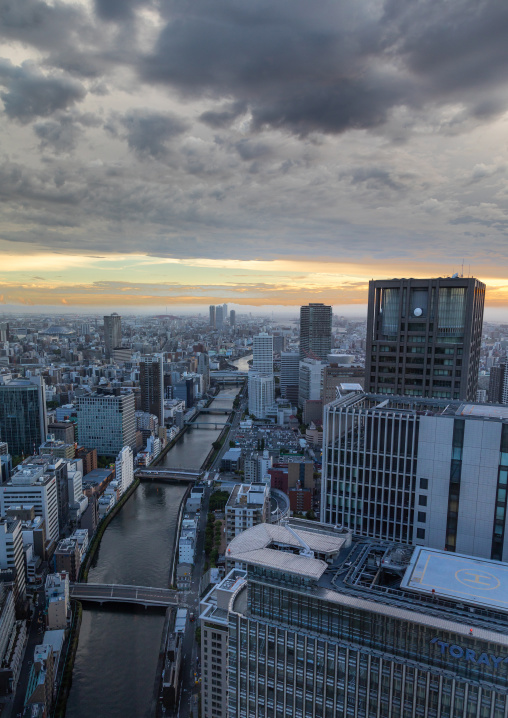 Cityscape at sunset, Kansai region, Osaka, Japan