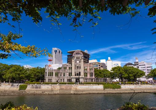 Ota river in front of the Genbaku dome in Hiroshima peace memorial park, Chugoku region, Hiroshima, Japan