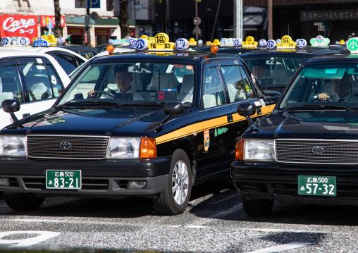 Taxis on a parking, Chugoku region, Hiroshima, Japan